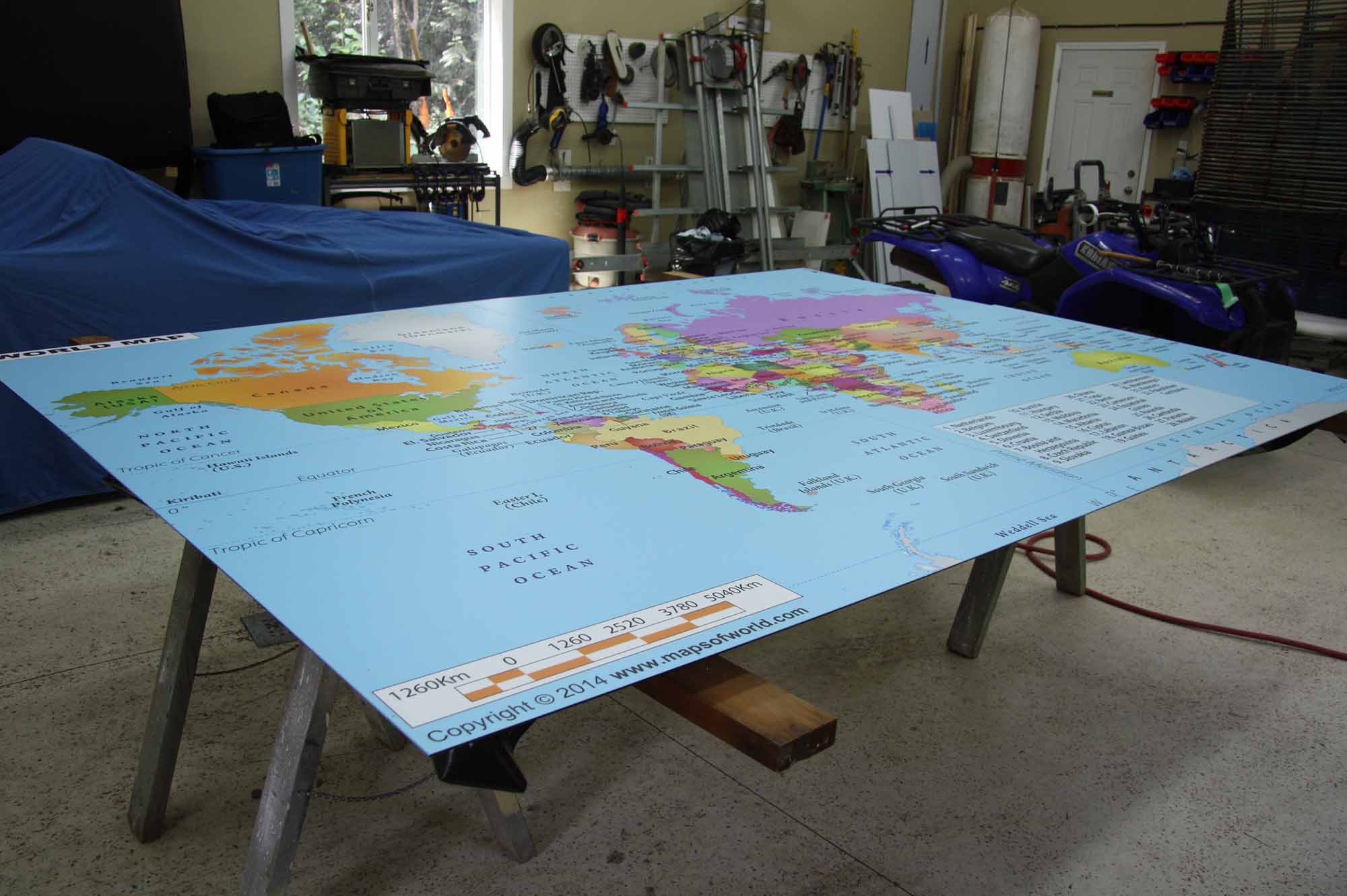 12 foot world map
